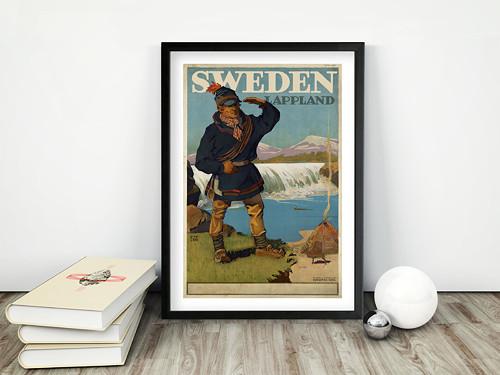 Vintage plakát Lappland Sweden