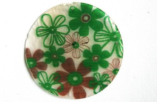 311 perleťové placky tenké- hnědá kytka v zeleném