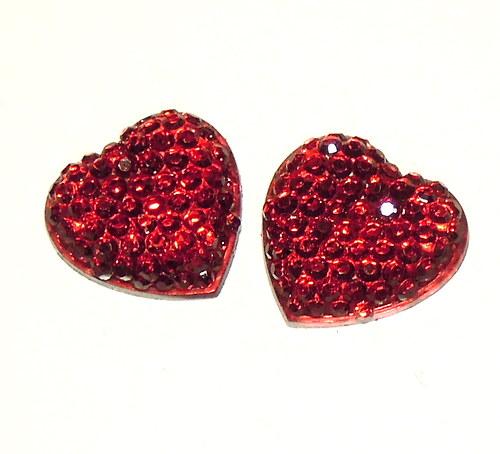 Cabochon srdce - 2 ks
