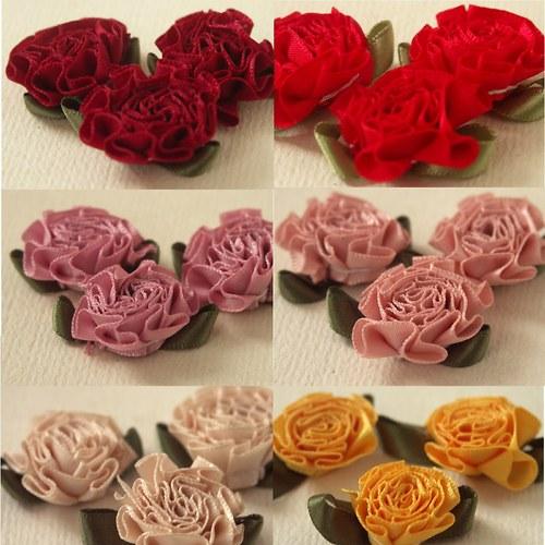Textilní květ 3 cm 6 barev