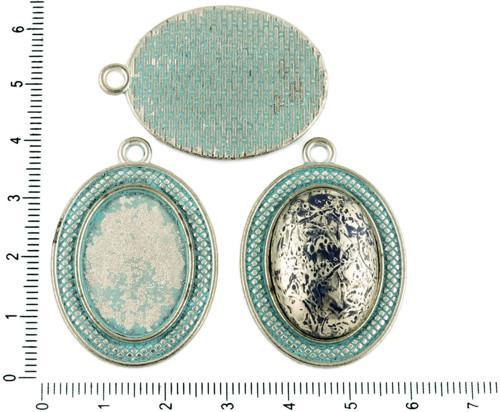 2ks české Tyrkysová Modrá Patina Antique Silver Tó