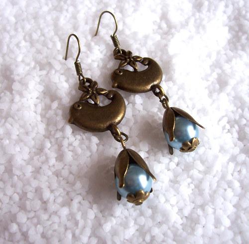 Náušnice perličky v bronzu