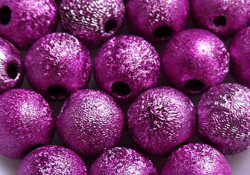Plastová zvrásněná kulička 6 mm - růžová / 8 ks