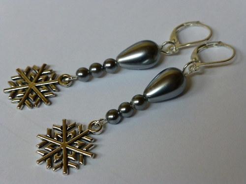 Náušnice - šedé perličkové s vločkou