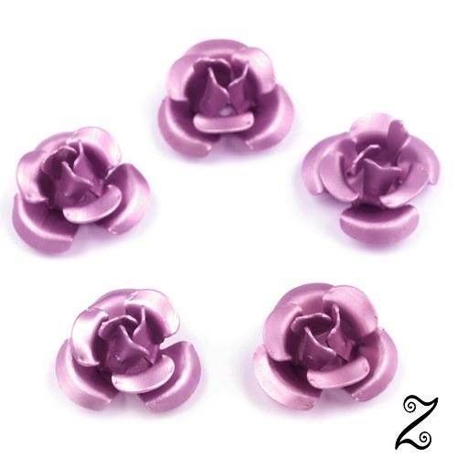 Kovová růžička, fialová světlá, 12 mm (10ks)
