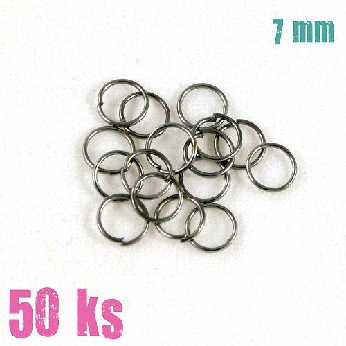 Leskle černé kroužky 7 mm (50 ks)