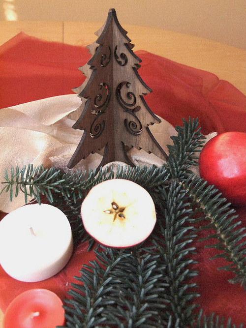 Vánoční strom, stromeček - FILIGRÁN 15 cm- OŘECH