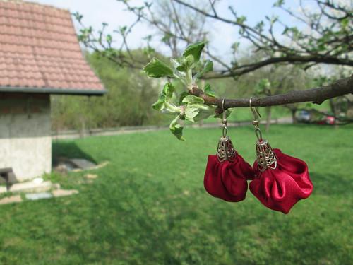 Náušnice pytlíčky - červené
