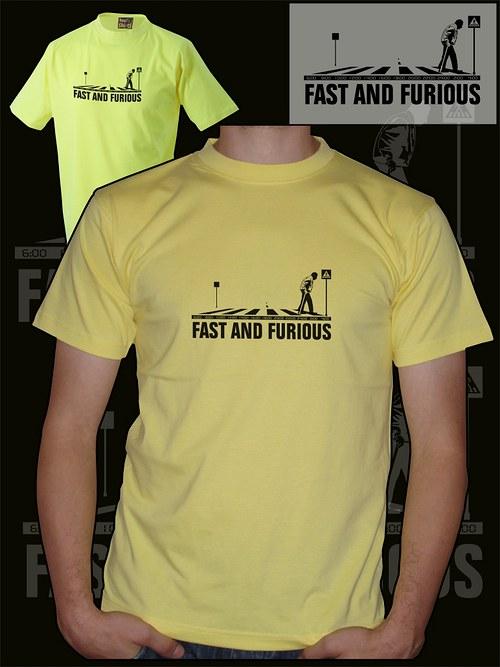 Pánské světle žluté tričko fast and furious