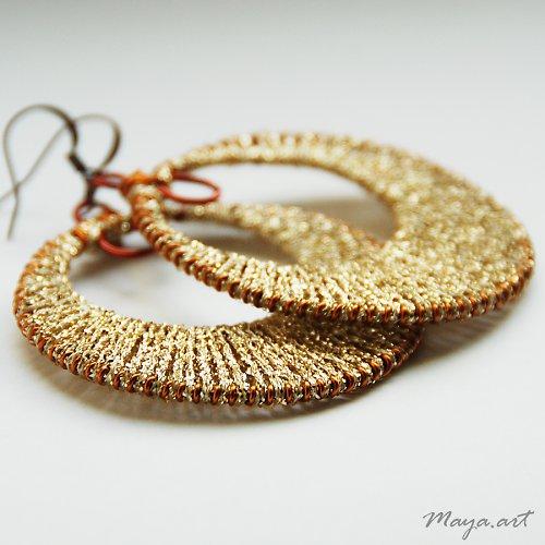 Vyplétané kruhy zlaté - bavlnka