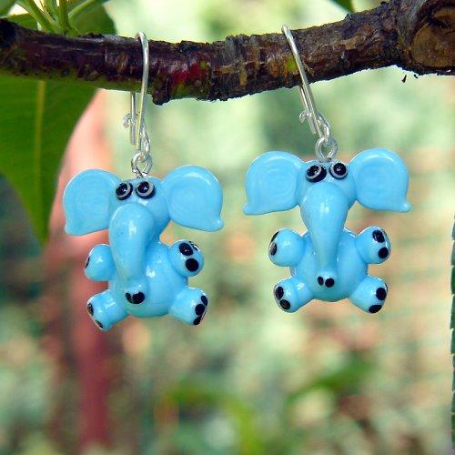 Náušnice modrý slon - vinuté perle