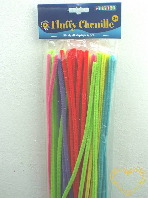 Modelovací drátek chlupatý neonový - sada 50 kusů