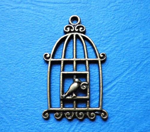 Klec s ptáčkem bronz IV. - 1ks