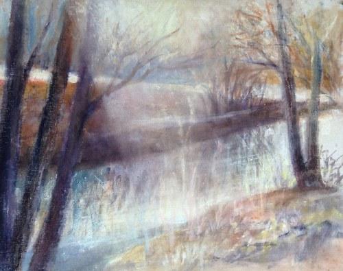 Akvarel na plátnem potaženém sololitu
