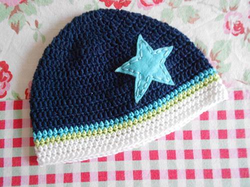 háčkovaná jarní čepice *** blue star ***