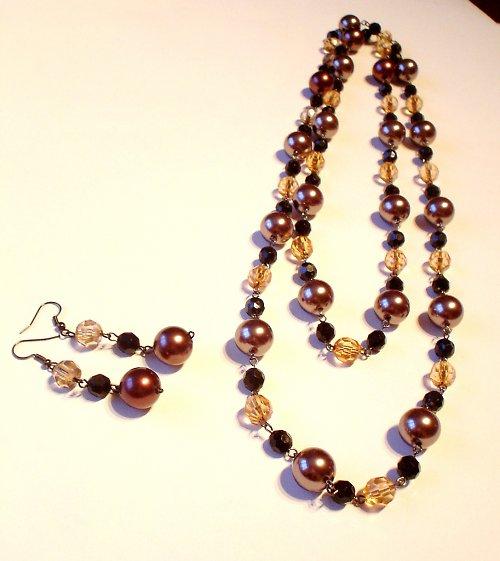 Bronzové perličky.Korále + náušnice.Sleva