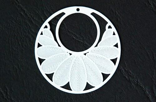 Měděný přívěsek kolečko 3cm - bílé
