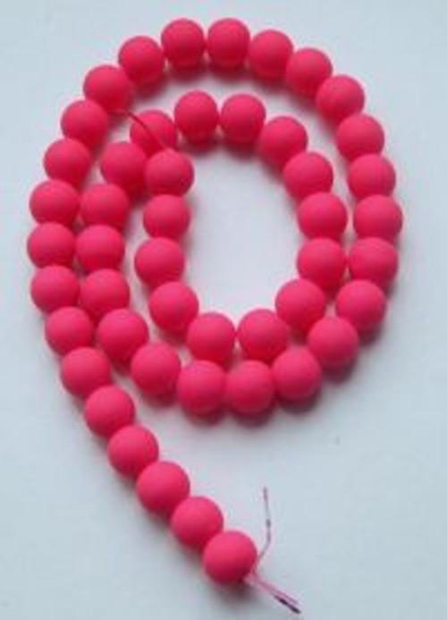 Korálky neon sklo pr.8mm (20ks) - růžová