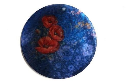 380 perleťové placky tenké - máky na modrém pozadí