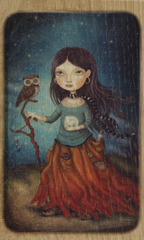 Dřevěný obrázek - Krásná čarodějka