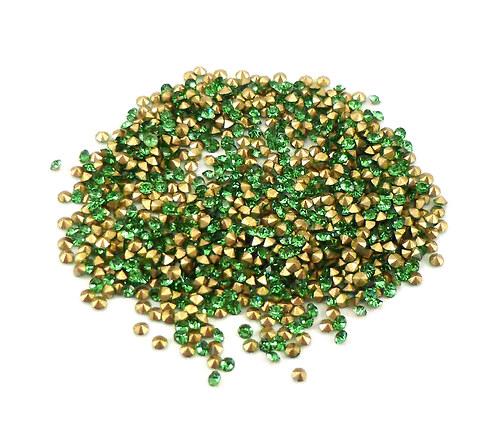 broušené šatony zelené SS4 - 1,5mm, 30ks