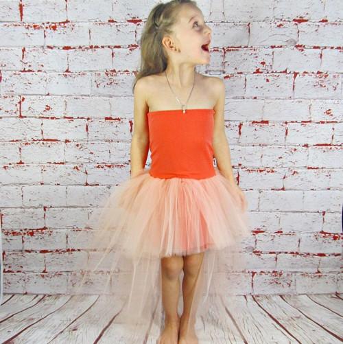 Sweet peach - Dětské šatičky s tylem