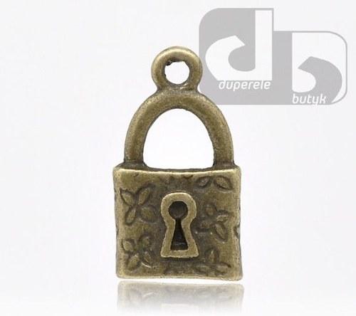 Bronzový přívěšek - visací zámek 18 x 10mm 2 ks