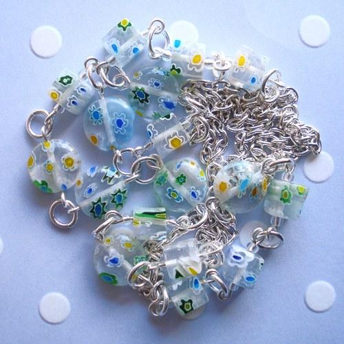 Zelené millefiori  - náhrdelník -  SLEVA !!!