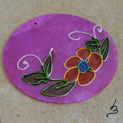 Malovaný perleťový přívěsek SV fialový