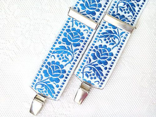 Wedding folklore suspenders (royal blue/white)