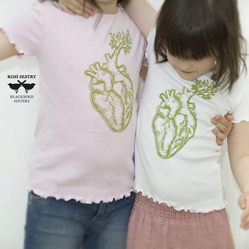 Green heart... růžové triko vel 122... BIO bavlna