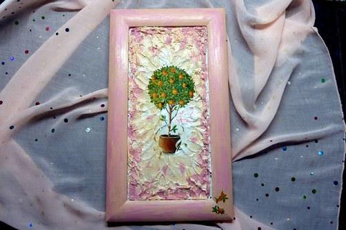 Decoupage obrázek Pomerančový stromek