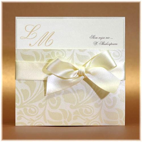 Luxusní svatební oznámení s mašlí