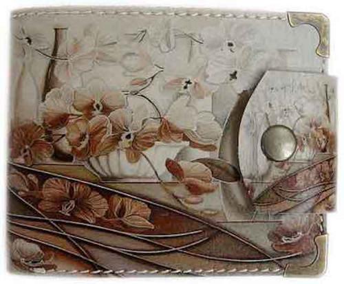 Kožená peněženka květiny