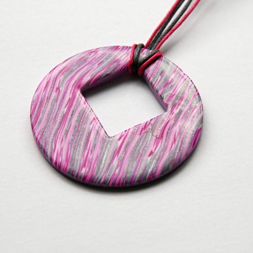 Růžovo-šený náhrdelník