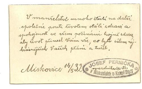 Tvrdá kartička Pernička Miskovice u Kutné Hory