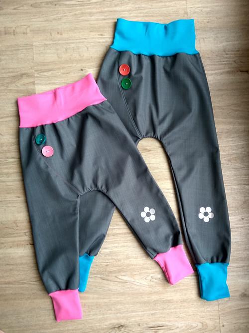 Jarní/ podzimní softshellové kalhoty- šedá/tyrkys
