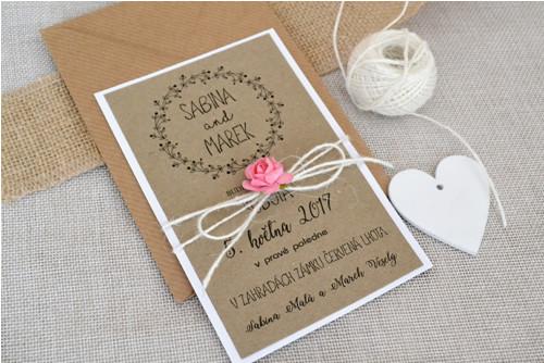Svatební oznámení s růžičkou