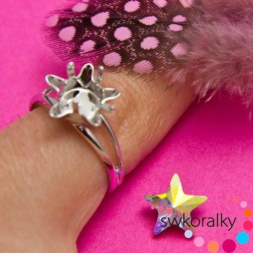 Prsten na HVĚZDIČKU kámen 10 SWAROVSKI ® ELEMENTS