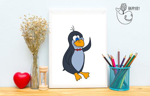Tučňák v barvě (bez stínů)