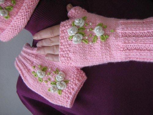 Pletené, růžové návleky na ruce