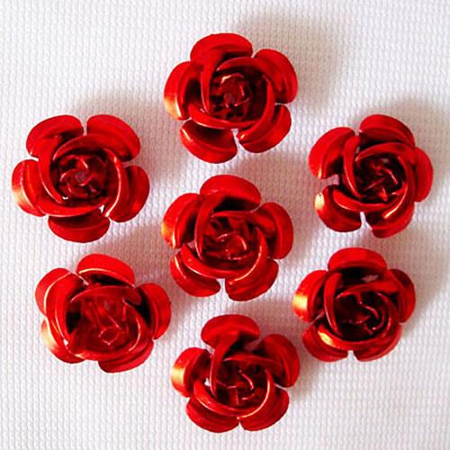 kovový korálek růže/ červená/ 15mm/ 10ks