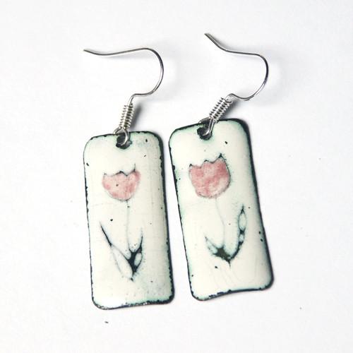 Tulipánové - smaltované náušnice