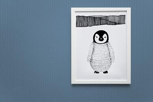 DIGITÁLNÍ Tučňák na horách - plakát, potisk trička