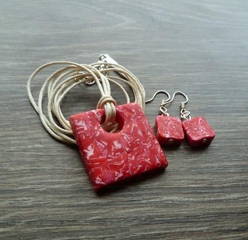 Červeno-růžovo-bílý náhrdelník + náušnice