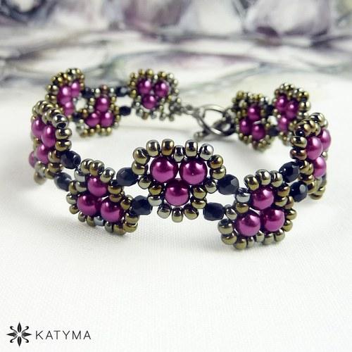 Náramek klikatý z purpurových perliček