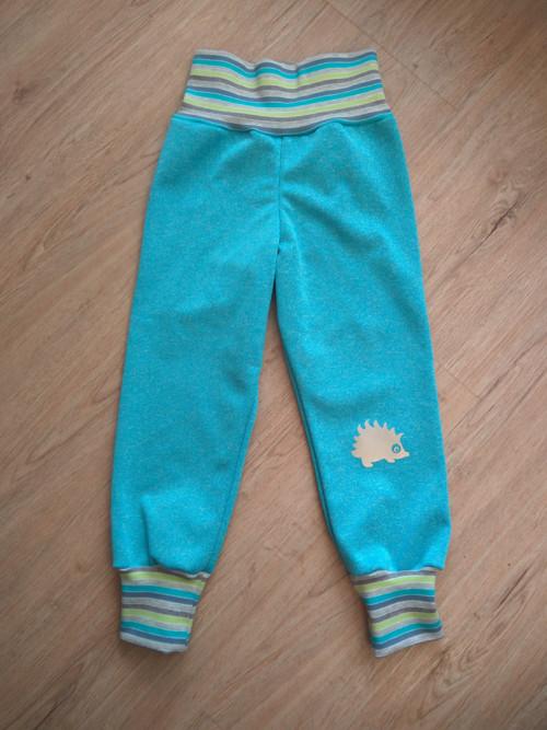 dětské zimní softshellové kalhoty-melír s proužkem