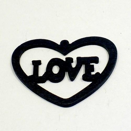 Dřevěný přívěsek - srdce,černé