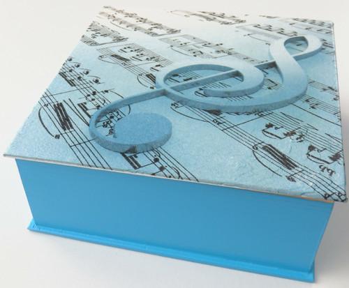 Dřevěná krabička - Blue notes (tyrkys)