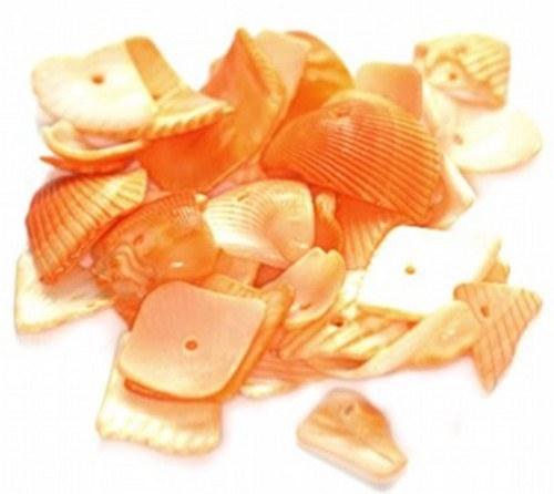 Korálky mušle 280g - řezané plátky, oranžová